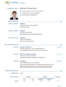 Der Perfekte Lebenslauf: Europass « Diepresse Vorlage Lebenslauf Europass