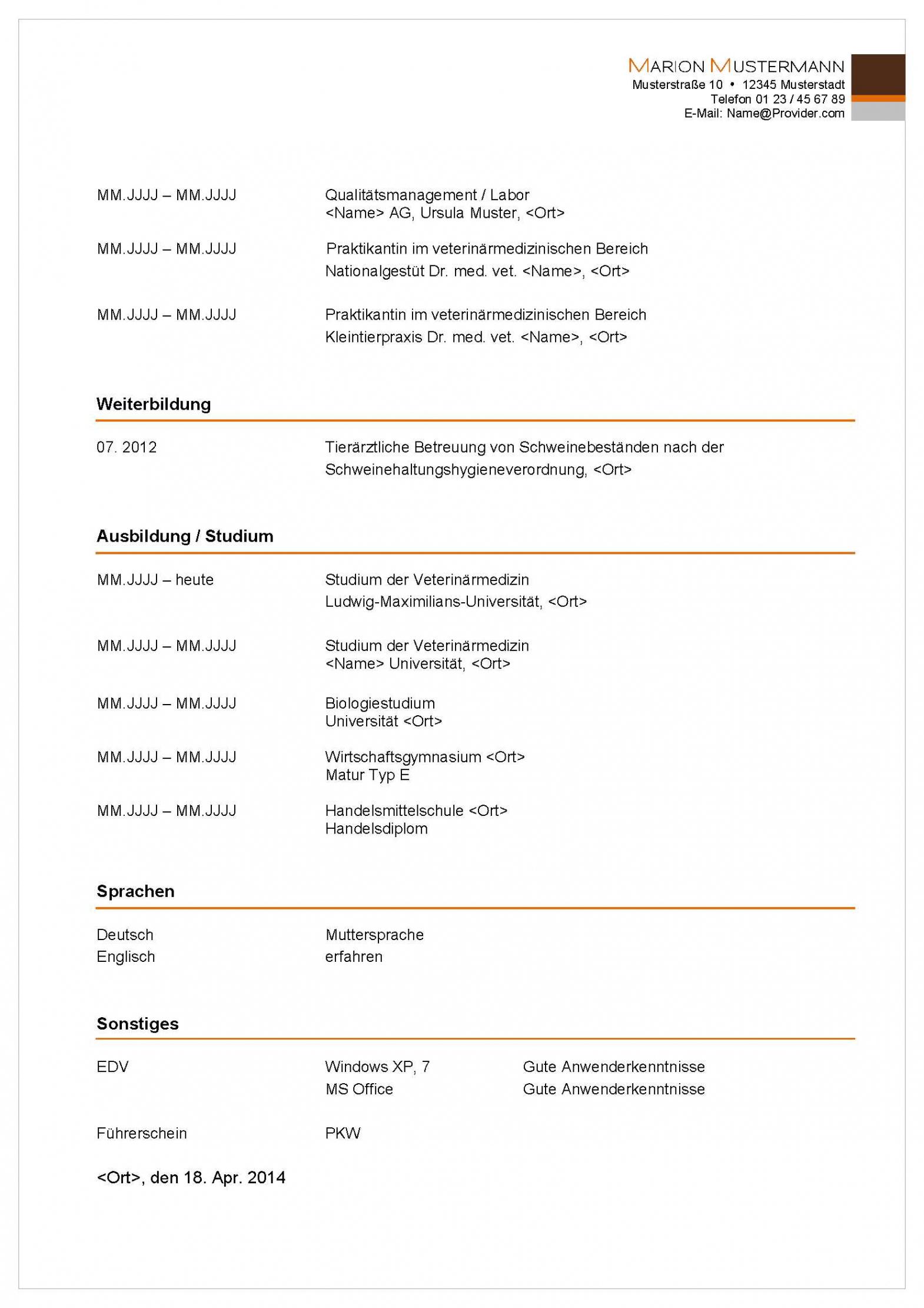 Eine Probe von Bewerbungsservice Aktiv  Professionelle Muster Vorlagen Für Lebenslauf Vorlage Chemielaborant