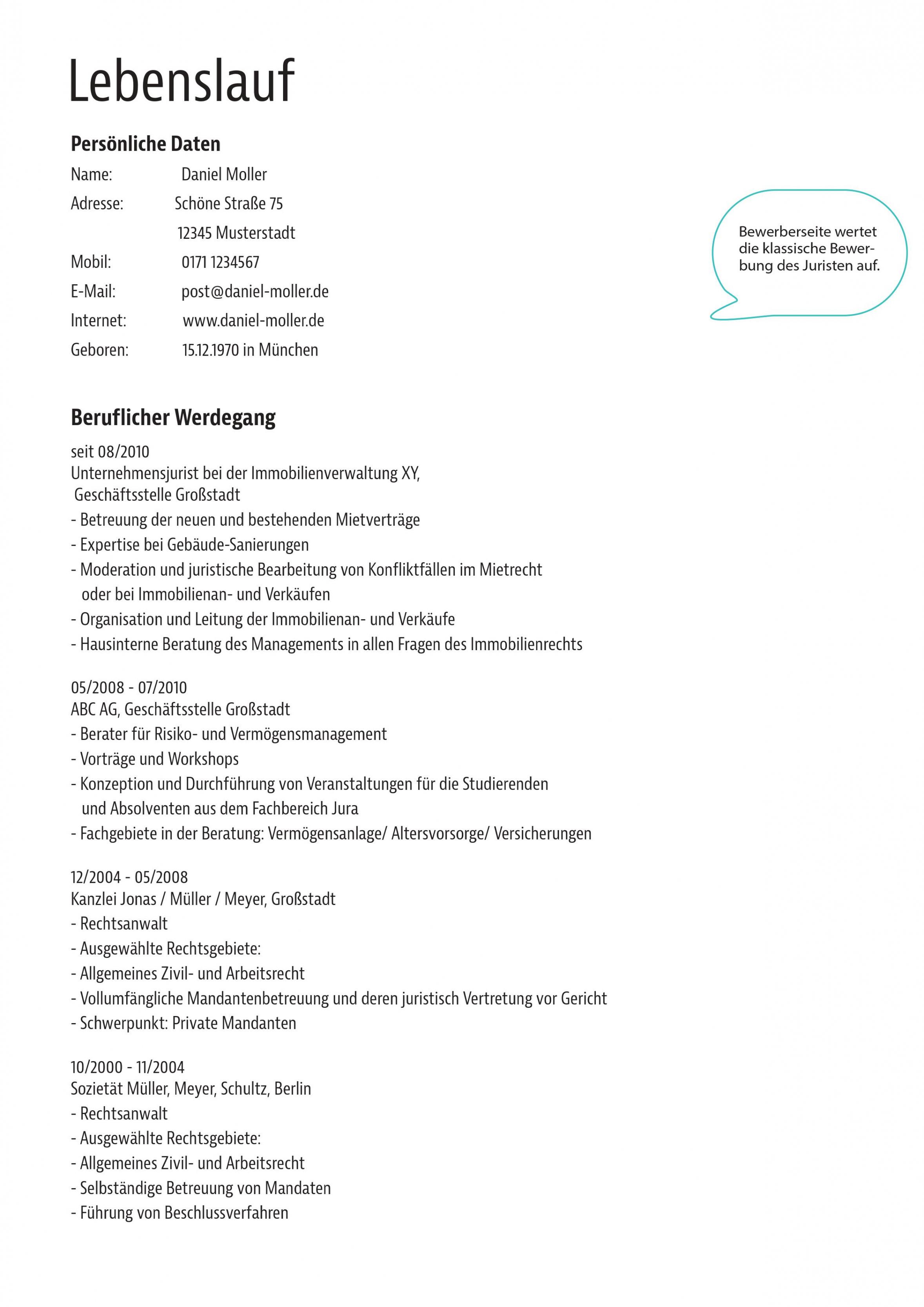 Eine Probe von  Muster: Bewerbungsvorlage Für Anwälte Und Justisten Lebenslauf Vorlage Rechtsanwalt
