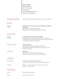 Porbe von  Bewerbung Franzoesisch Muster Lebenslauf Vorlage Schweiz Französisch