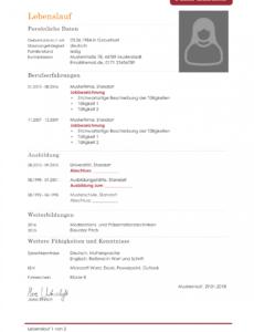 Porbe von  Kostenlose Lebenslauf Muster Und Vorlagen Für Deine Bewerbung 2018 Vorlage Tabellarischer Lebenslauf 2019