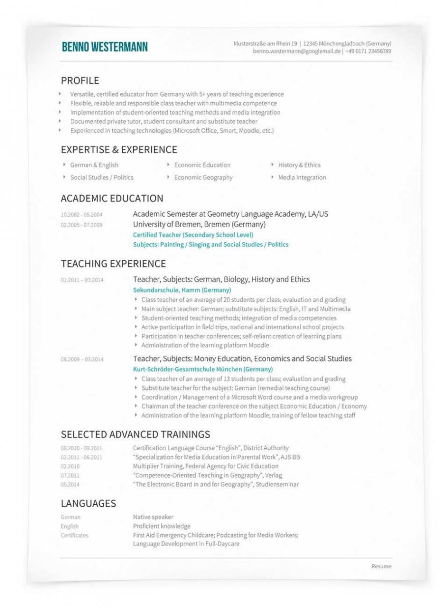 Porbe von Lebenslauf Englisch  Cv Oder Résumé  Unterschiede Lebenslauf Englisch Resume Vorlage