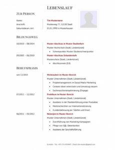 Porbe von  Lokal Lebenslauf Vorlage Jobwechsel Lebenslauf Ausbildung Muster Lebenslauf Vorlage Jobwechsel