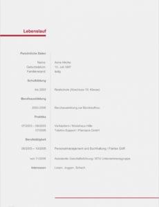 Porbe von  Original Lebenslauf, Ausfüllen Download Tabellarischer Lebenslauf Lebenslauf Vorlage Zum Ausfüllen Herunterladen