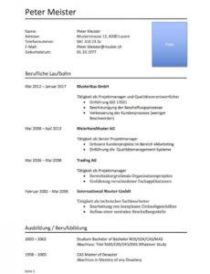 Tabellarischer Lebenslauf Vorlage (Word)  Mustervorlagech Vorlage Tabellarischer Lebenslauf 2019
