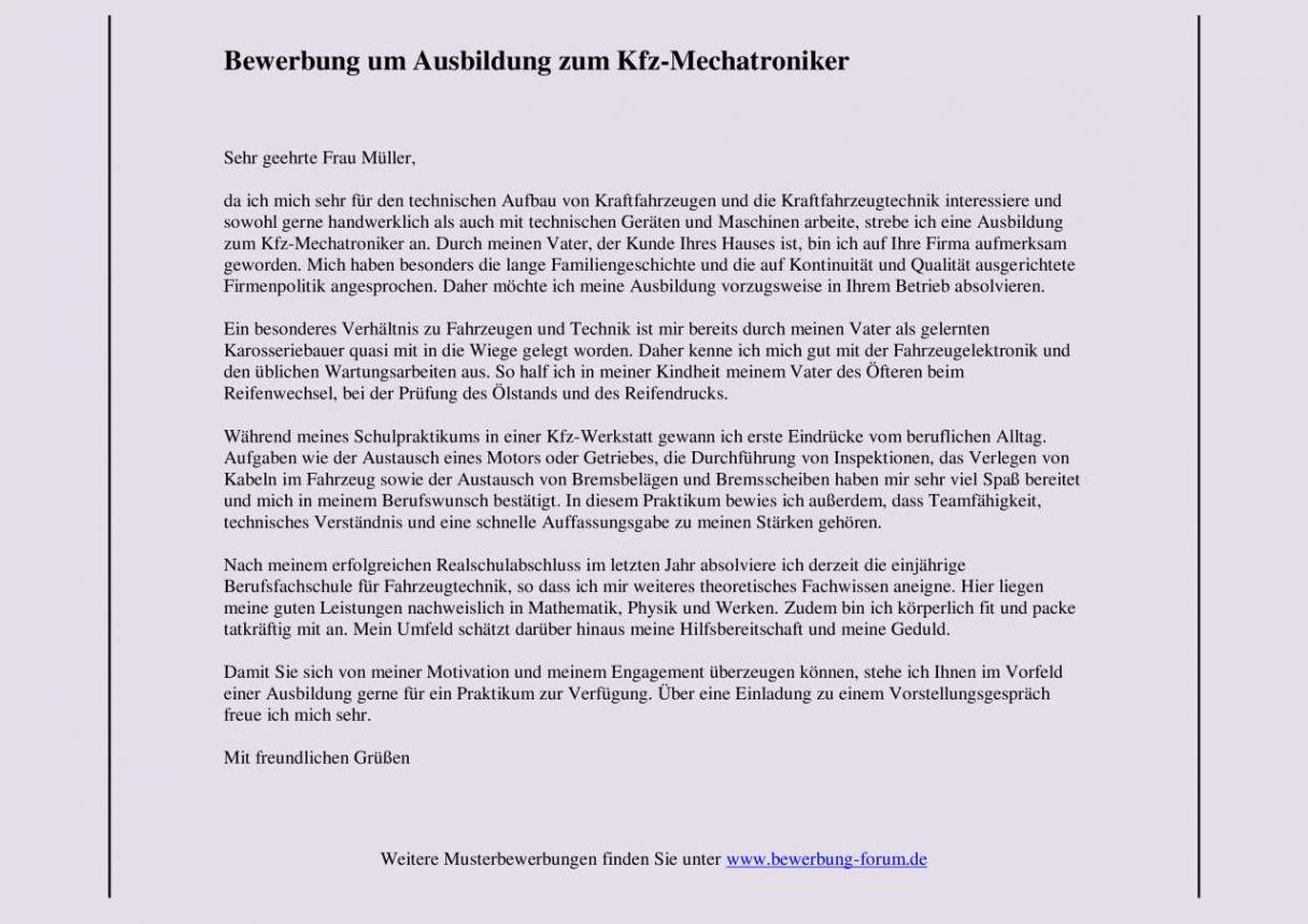 von Kfzmechatroniker Bewerbung Um Ausbildung: Muster Und Tipps Lebenslauf Muster Ausbildung Kfz Mechatroniker