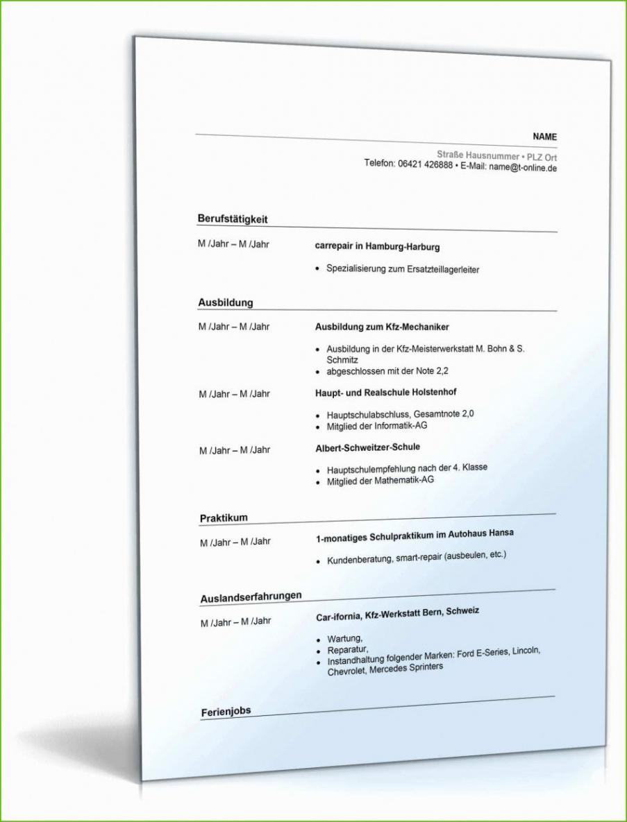 von Lebenslauf Kfz Mechatroniker Ausgezeichnet Muster Lebenslauf Kfz Lebenslauf Muster Ausbildung Kfz Mechatroniker