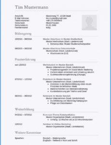 20+ Tabellarischer Lebenslauf Englisch Muster  Rigarda Tabellarischer Lebenslauf Auf Englisch Vorlage