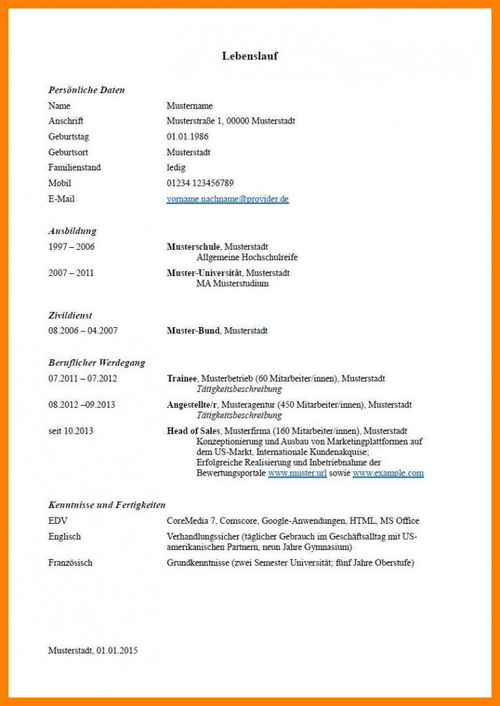 7+ Lebenslauf Muster Hobbys  Rigarda Vorlage Lebenslauf Klassisch