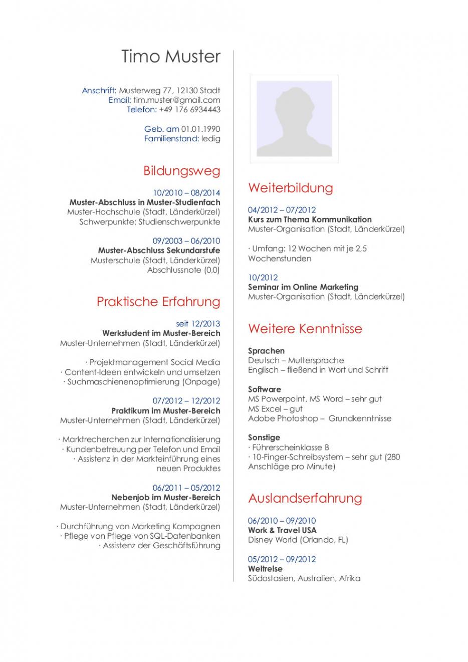 Bewerbungsmuster Für Publisher  Lebenslauf Designs Vorlage Lebenslauf Technische Berufe