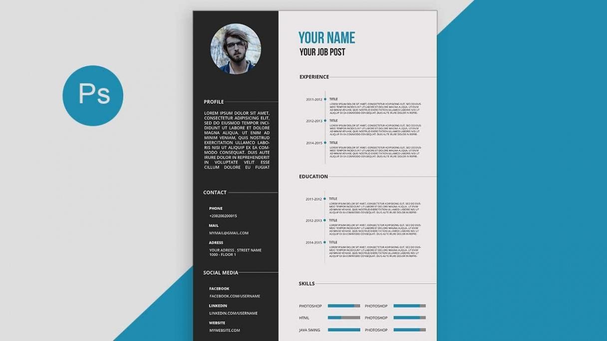 Cv/resume Template Design Tutorial With Photoshop Free Psd+Docs+Pdf Vorlage Lebenslauf Psd