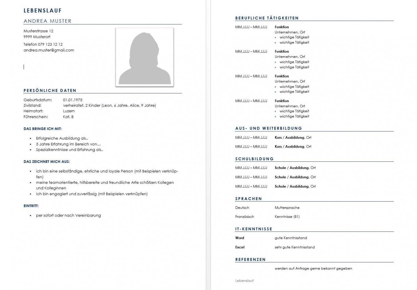 Download Lebenslauf Vorlage & Muster Für Deine Bewerbung (Schweiz) Vorlage Lebenslauf Ch
