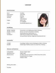 Eine Probe von  14+ Deutsch Lebenslauf Muster  Rigarda Lebenslauf Vorlage Ubuntu