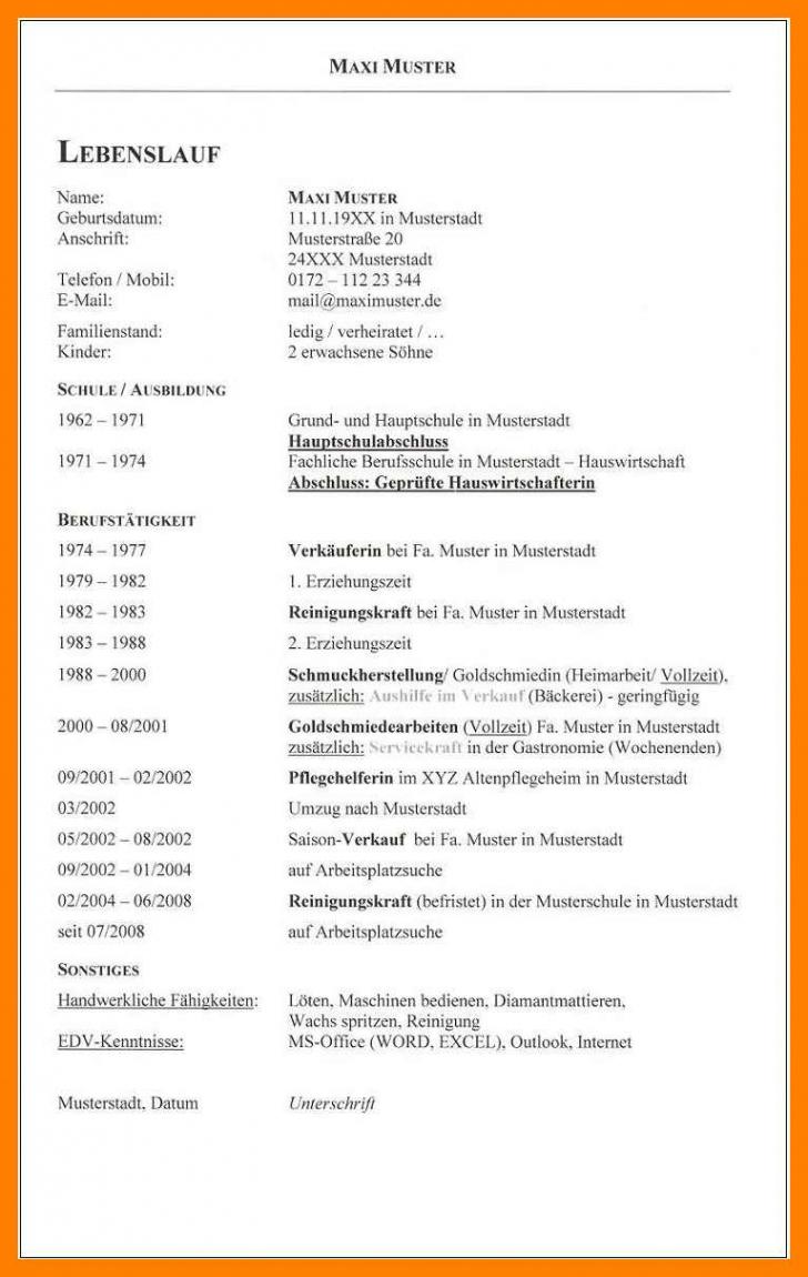 Eine Probe von  15+ Handgeschriebener Tabellarischer Lebenslauf Vorlage  Codemavarginha Lebenslauf Vorlage Hauptschule