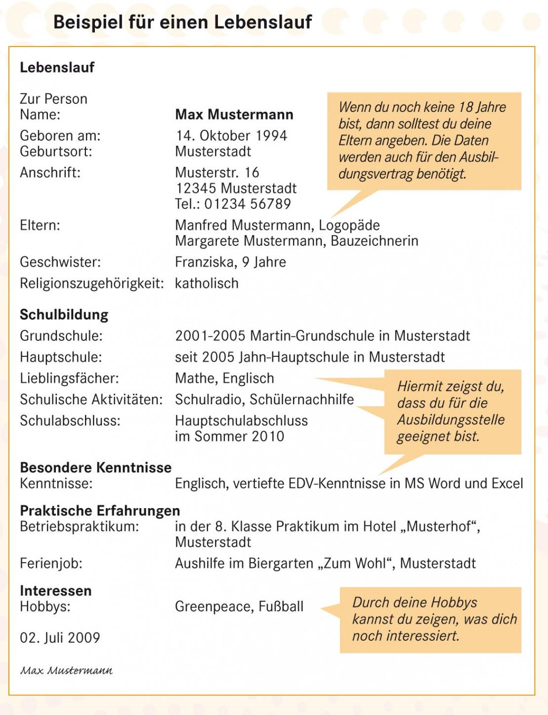 Eine Probe von  16+ Lebenslauf Max Mustermann  Iaaparlington Lebenslauf Vorlage Schüler Max Mustermann