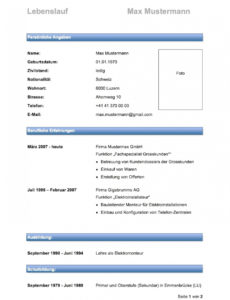 Eine Probe von  Bewerbung Cv Schweiz Lebenslauf Vorlage Profil Muster Vorlagen Lebenslauf Vorlage Schweiz Nach Der Ausbildung