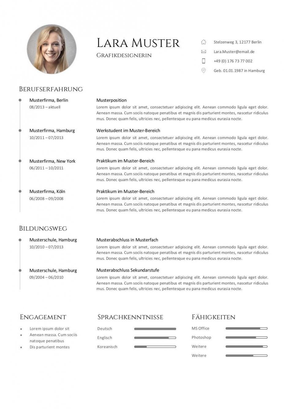 Eine Probe von  Bewerbungsvorlagen  77 Muster Für Die Bewerbung 2019  Career Vorlage Lebenslauf Pages