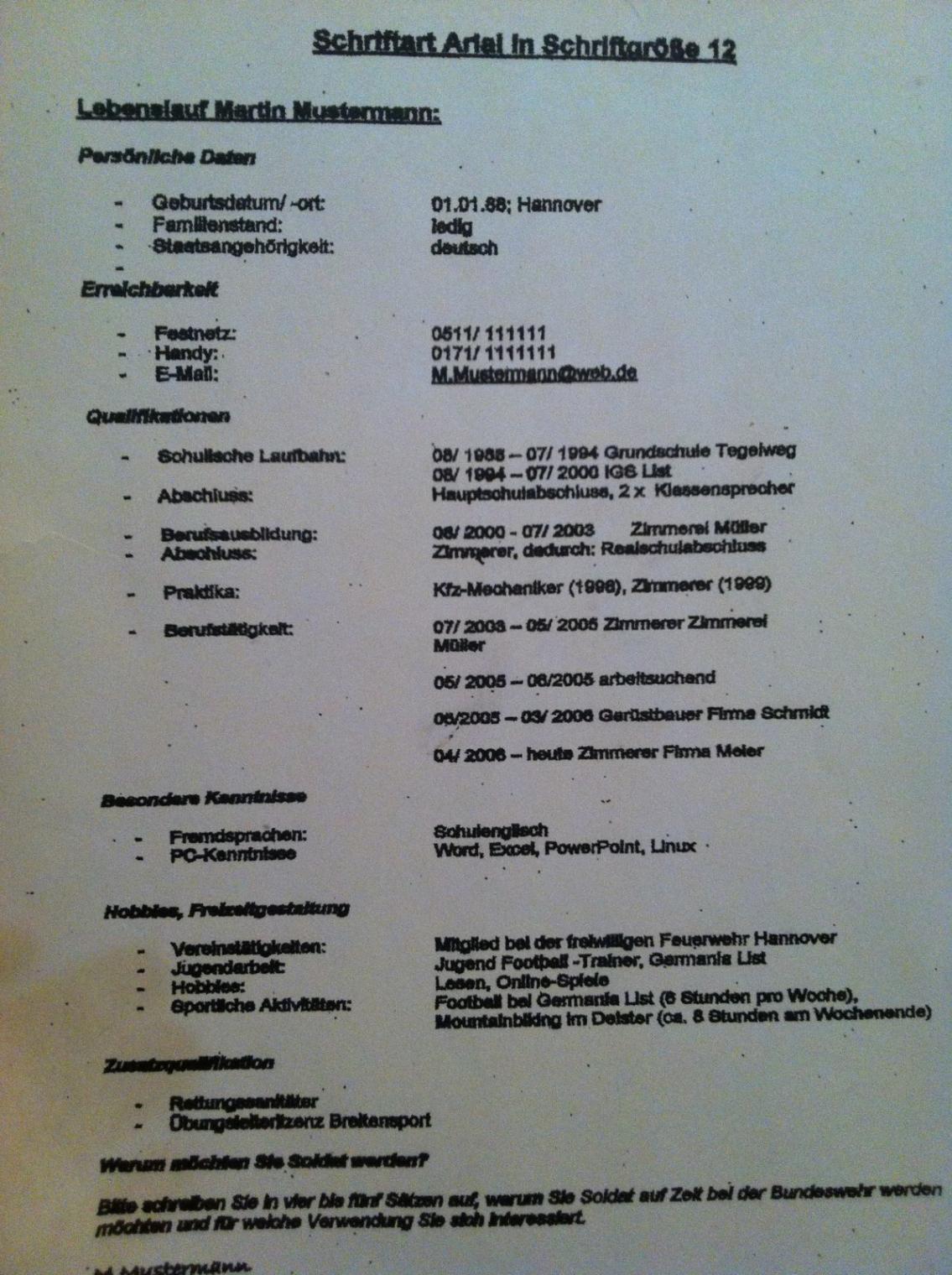 Eine Probe von  Bundeswehrforumde  Bewerbung Lebenslauf Nach Muster Muster?! Vorlage Lebenslauf Bundeswehr