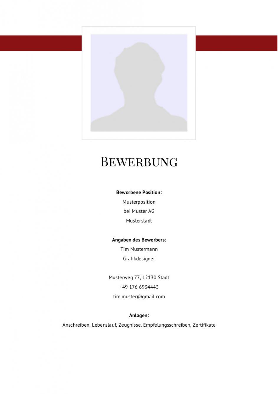 Eine Probe von  Deckblatt Bewerbung: Viele Muster & Vorlagen Für Die Bewerbung 2019 Vorlage Lebenslauf Titelblatt