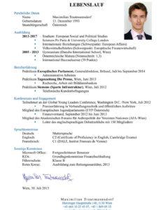 Eine Probe von  Der Perfekte Lebenslauf Für Österreich, Deutschland Und Die Schweiz Vorlage Lebenslauf Österreich