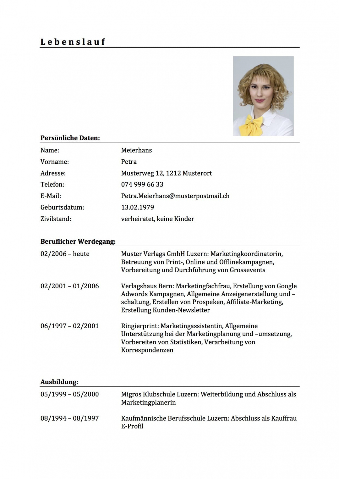 Eine Probe von  Download Lebenslauf Vorlage & Muster Für Deine Bewerbung (Schweiz) Vorlage Lebenslauf Ch