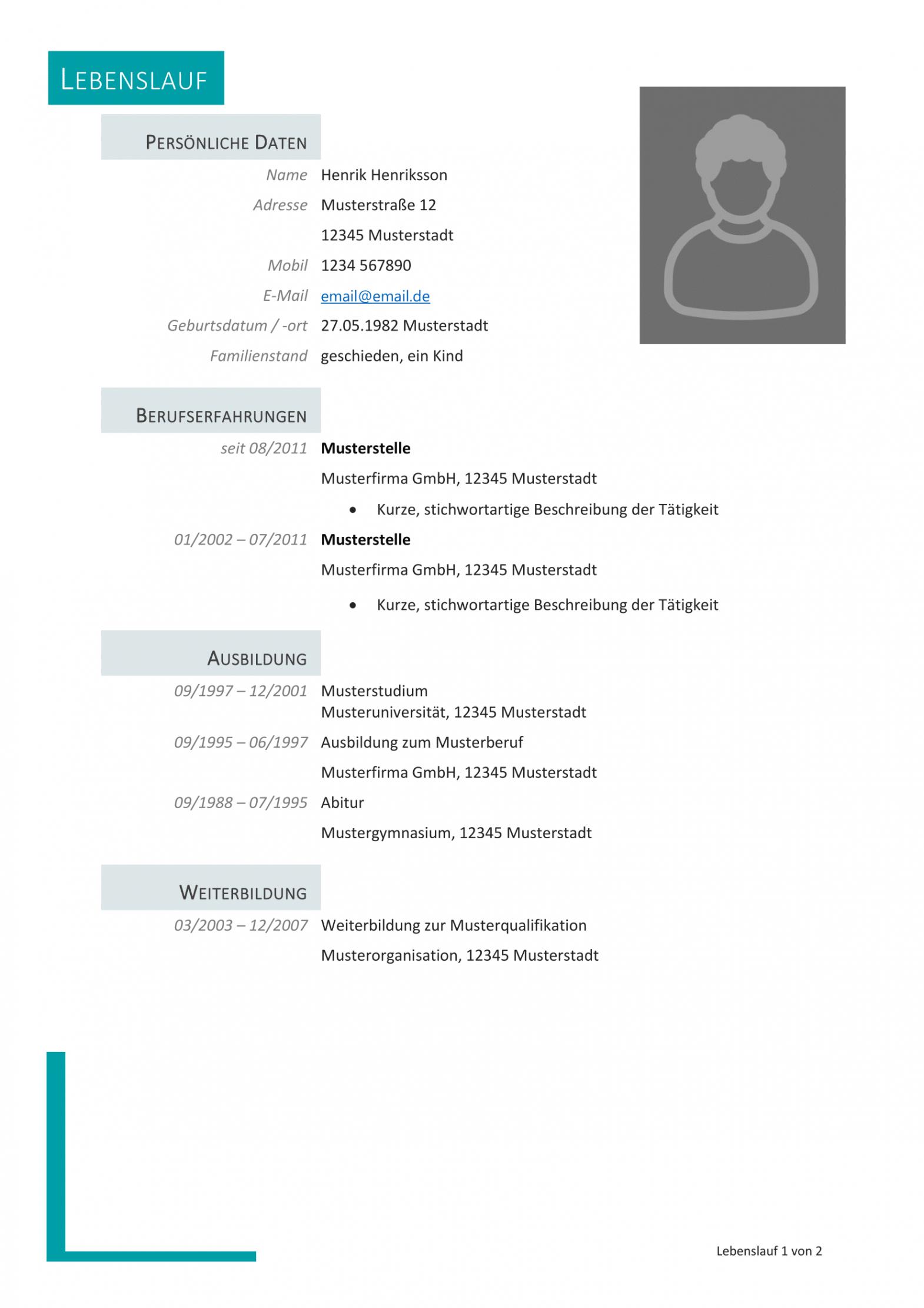 Eine Probe von  Kostenlose Lebenslauf Muster Und Vorlagen Für Deine Bewerbung 2018 Lebenslauf Muster Mit Ausbildung Und Studium