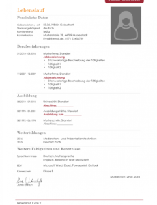 Eine Probe von  Kostenlose Lebenslauf Muster Und Vorlagen Für Deine Bewerbung 2018 Vorlage Lebenslauf Deutsch