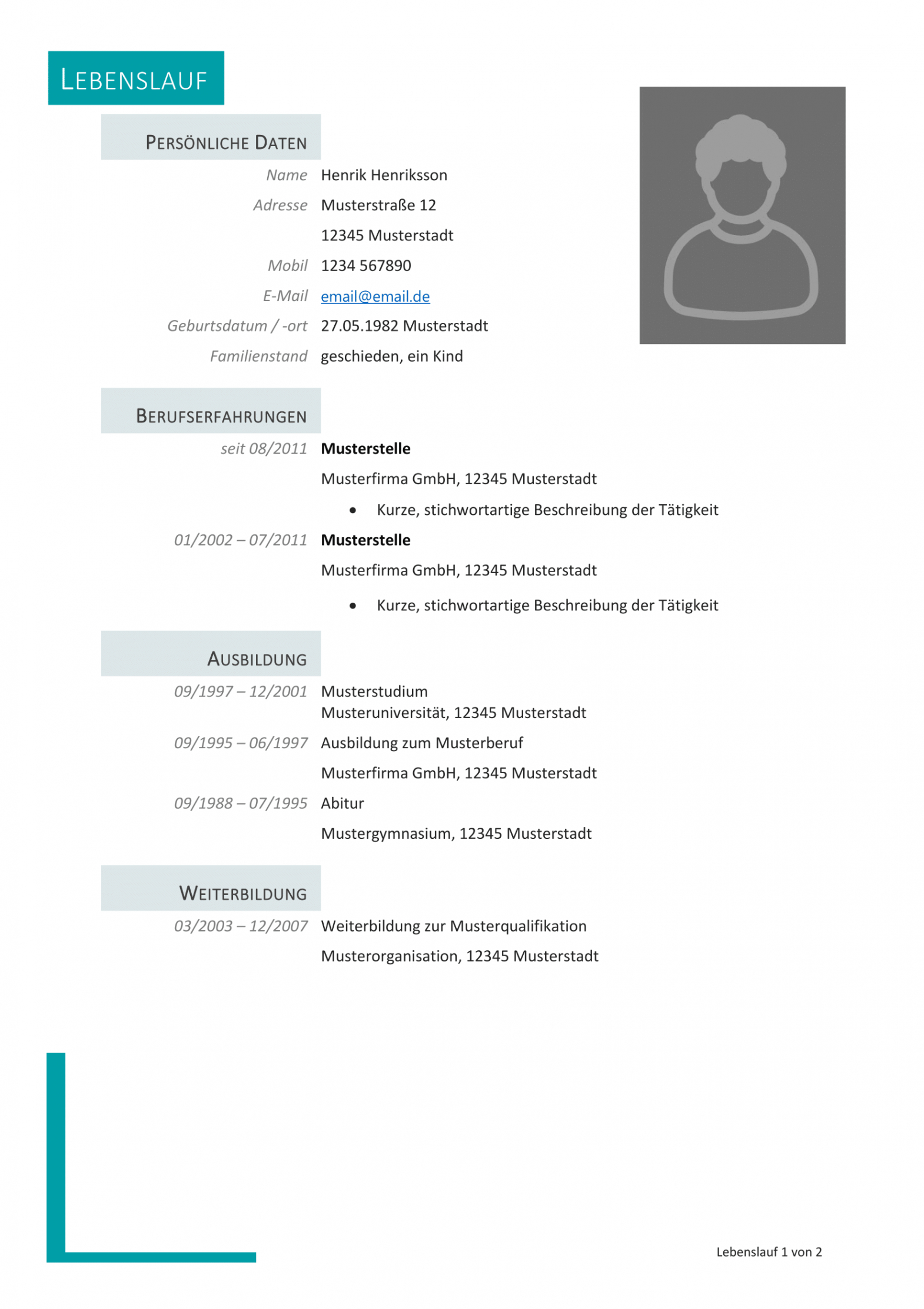 Eine Probe von  Kostenlose Lebenslauf Muster Und Vorlagen Für Deine Bewerbung 2018 Vorlage Lebenslauf Muster