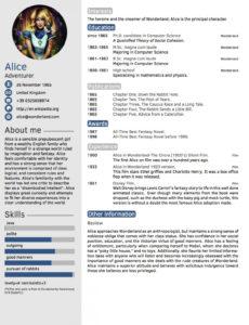 Eine Probe von  Latex Templates » Curricula Vitae/résumés Vorlage Lebenslauf Latex