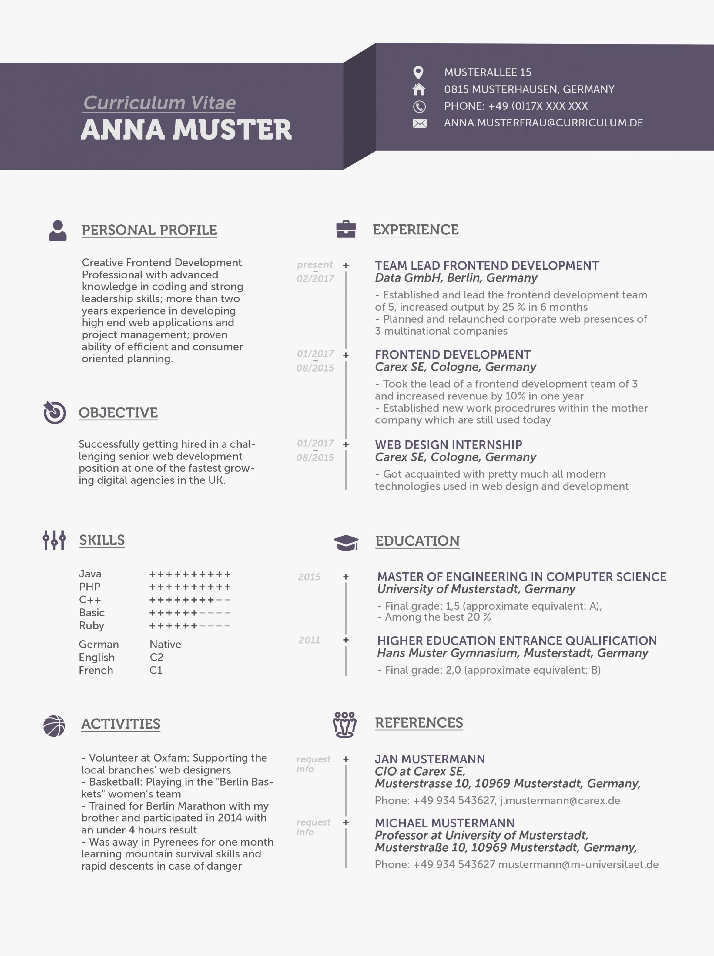 """Eine Probe von  Lebenslauf Auf Englisch: Tipps Für Den """"cv""""  Mystipendium Lebenslauf Vorlage Curriculum Vitae"""