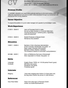 Eine Probe von  Lebenslauf Auf Englisch: Tipps Für Resume Und Cv  Karrierebibelde Cv Vorlage Englisch Praktikum