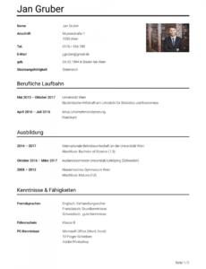 Eine Probe von  Lebenslauf Beispiel Österreich: Vorlage  Studierenat Vorlage Lebenslauf Österreich