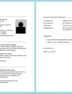 Eine Probe von  Lebenslauf In Word Erstellen  Professioneller Lebenslauf Vorlage Lebenslauf Zwei Seiten