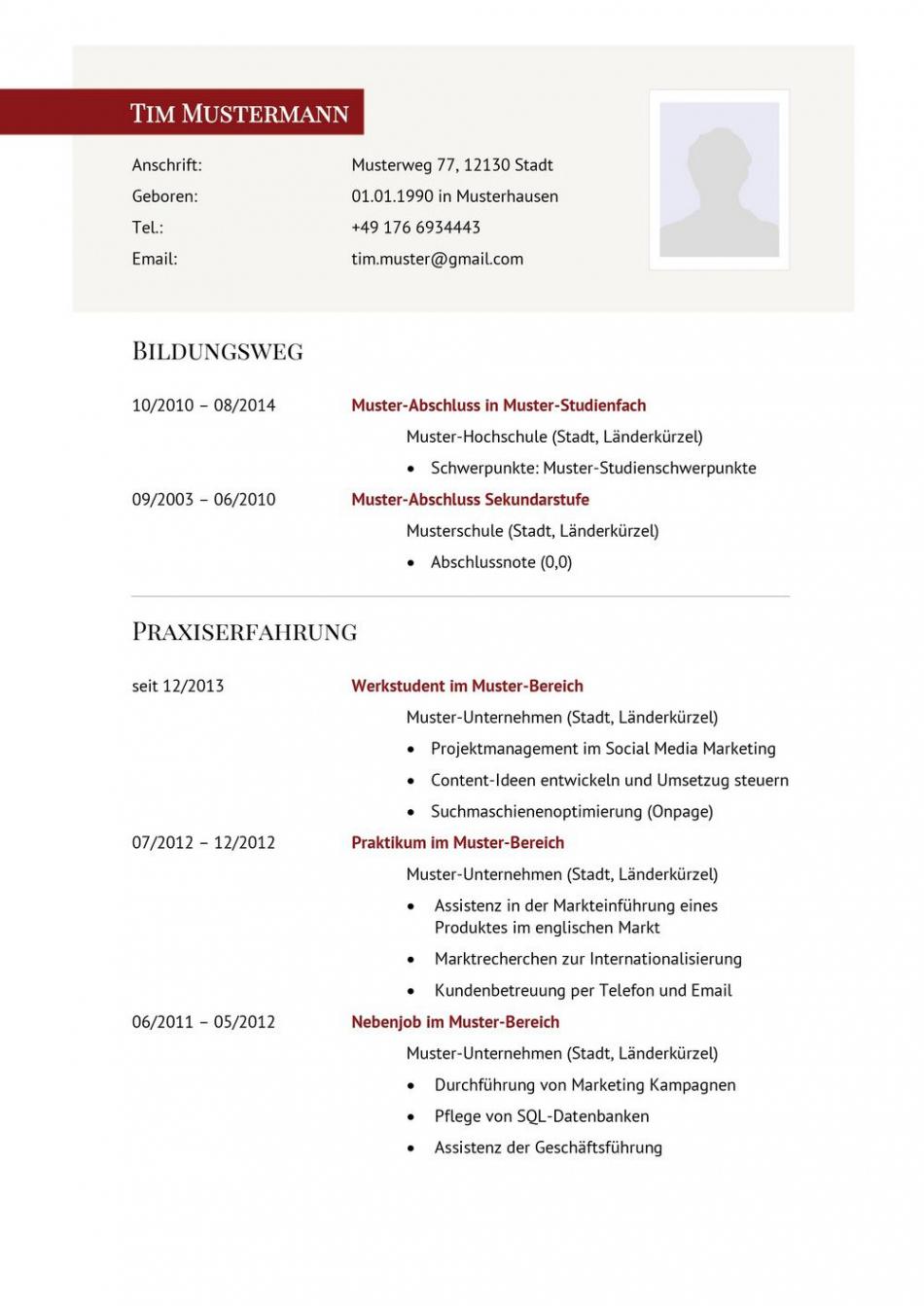 Eine Probe von  Lebenslauf Muster Für Führungskraft  Lebenslauf Designs Vorlage Lebenslauf Österreich
