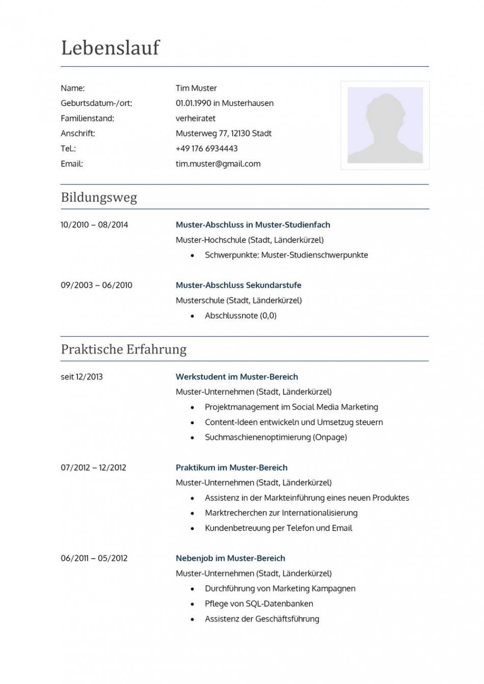 Eine Probe von  Lebenslauf Muster Für Lehrer  Lebenslauf Designs Vorlage Lebenslauf Referendariat