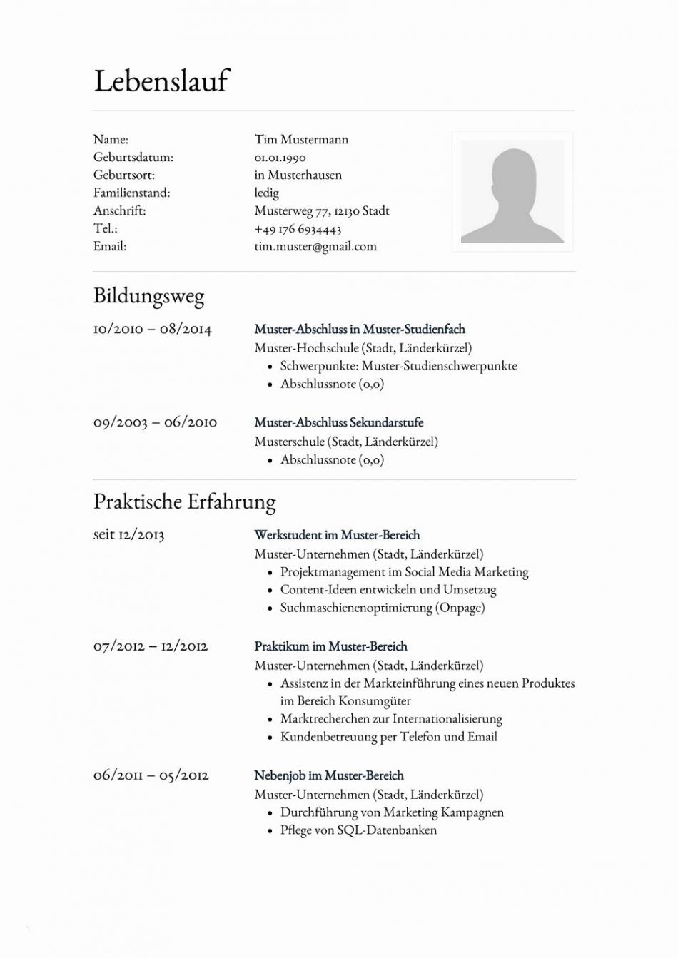 Eine Probe von  Lebenslauf Muster Schreiben Schön Einzigartig Sammlung Von Lebenslauf Vorlage Nach Eu-Norm