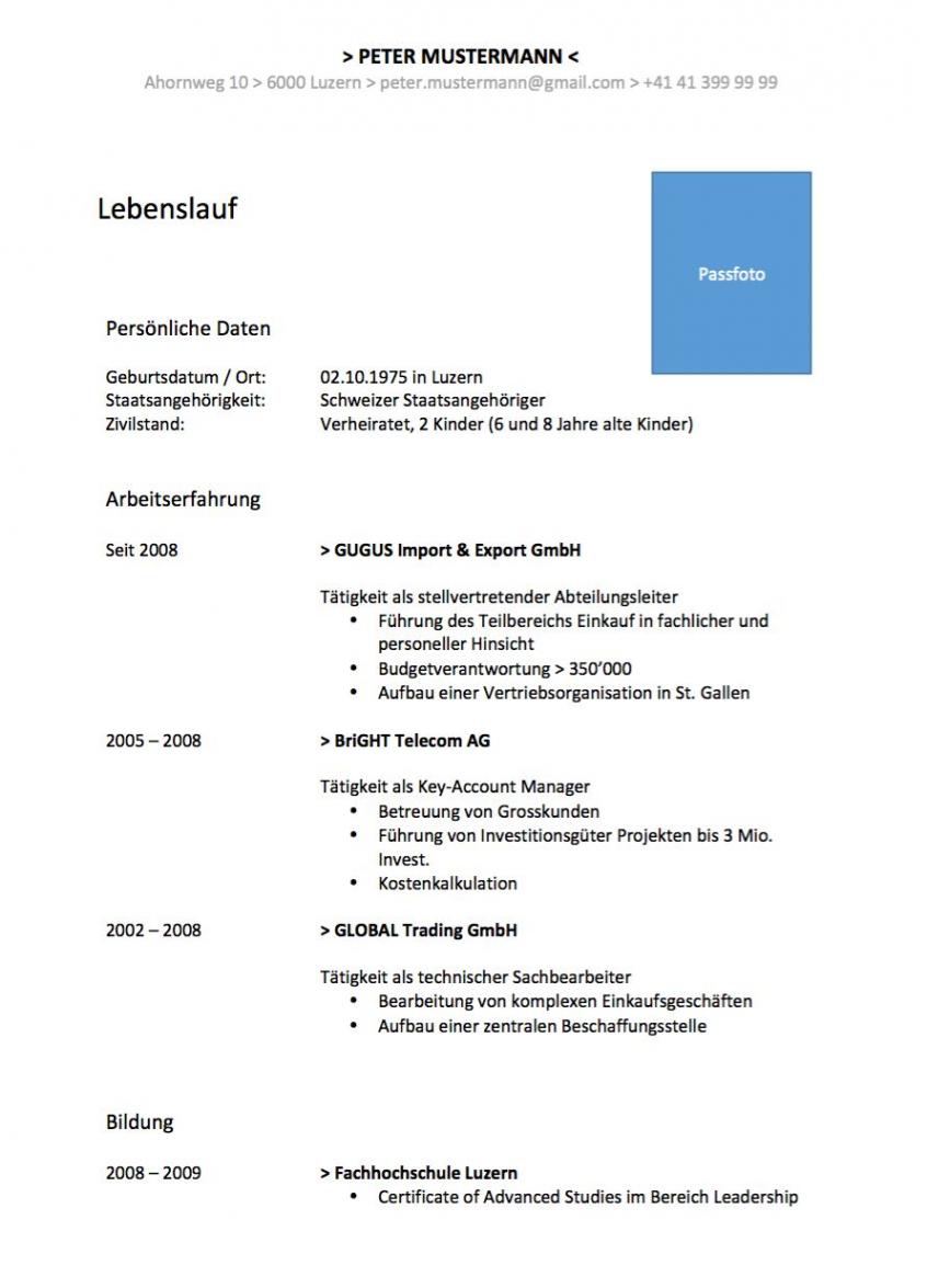 Eine Probe von  Lebenslauf Vorlage Im Wordformat (Schweiz)  Mustervorlagech Vorlage Lebenslauf Schweiz Modern