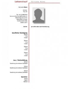 Eine Probe von  Lebenslauf Vorlage Schweiz (Wordformat)  Mustervorlagech Lebenslauf Vorlage Schweiz Nach Der Ausbildung