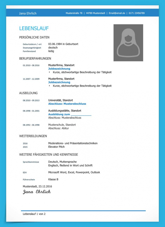 Eine Probe von  Lebenslauf Vorlage Studium (Kostenloser Download) Lebenslauf Muster Ausbildung Und Studium