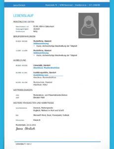 Eine Probe von  Lebenslauf Vorlage Studium (Kostenloser Download) Lebenslauf Muster Mit Ausbildung Und Studium