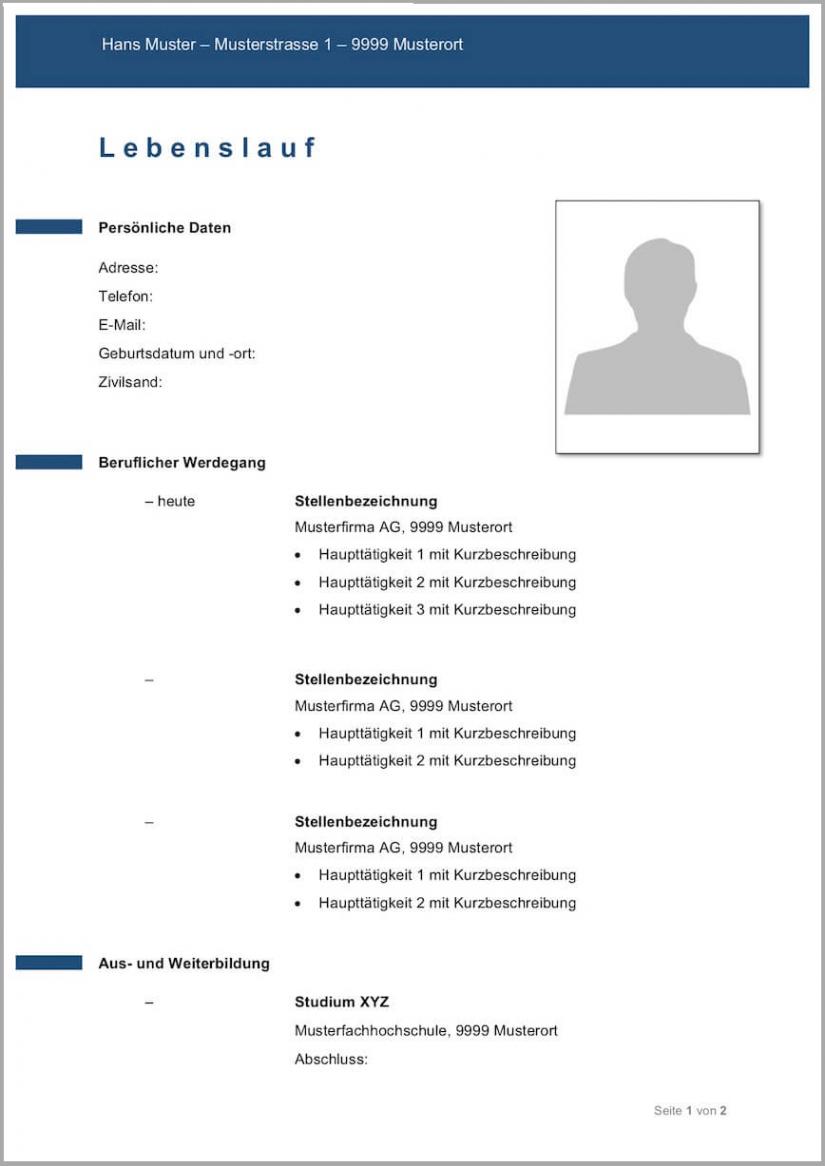 Eine Probe von  Lebenslauf Vorlagen & Muster  Kostenlose Wordvorlage Lebenslauf Muster Schüler Schweiz