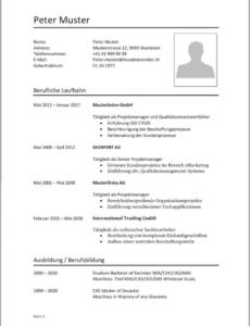 Eine Probe von  Lebenslauf Vorlagen & Muster  Kostenlose Wordvorlage Lebenslauf Vorlage Schweiz Kader