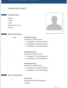 Eine Probe von  Lebenslauf Vorlagen & Muster  Kostenlose Wordvorlage Vorlage Lebenslauf Ch