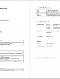 Eine Probe von  Tabellarischer Lebenslauf (Muster, Aufbau, Wordvorlage, Beispiel) Vorlage Lebenslauf Krankenschwester