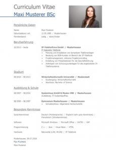 Eine Probe von  Tabellarischer Lebenslauf Vorlage: Kostenlose Muster Zum Download! Lebenslauf Vorlage Uni Absolvent
