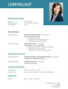 Eine Probe von  Tabellarischer Lebenslauf Vorlage: Kostenlose Muster Zum Download! Vorlage Lebenslauf Business