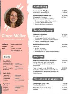 Eine Probe von  Vorlage Für Einen Kreativen Lebenslauf  Studentjob At Vorlage Lebenslauf Grafik