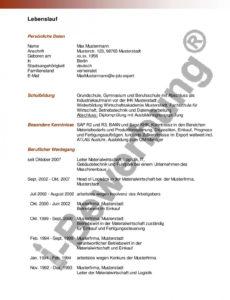 Formulierung Lebenslauf (Kostenloses Muster)  Lebenslauf Beispiel Muster Lebenslauf Logistik