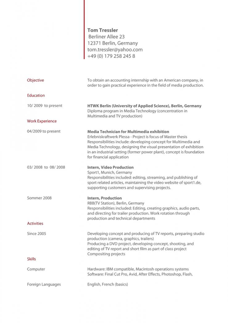 Internationaler Lebenslauf Anschreiben Bewerbung Englisch Internationaler Lebenslauf Vorlage Englisch