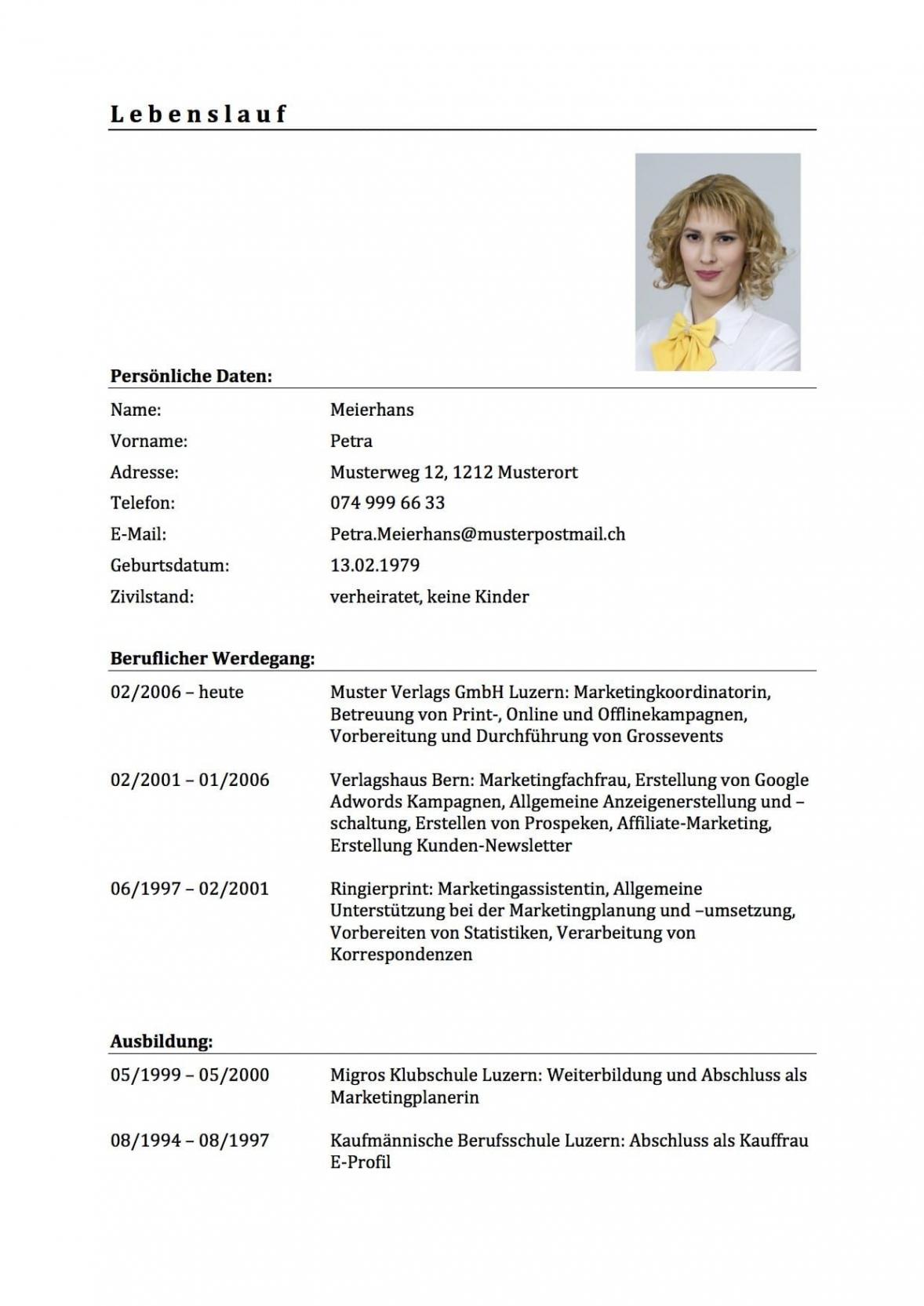 Klassischer Lebenslauf Muster  Bewerbungsschreiben Guter Lebenslauf Vorlage Schweiz